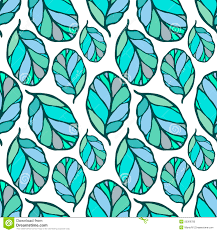 seamless pattern with hand drawn blue and green leaves on the