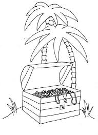 opened treasure chest tropical island coloring