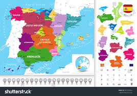 Spain World Map by Political Map Spain Administrative Divisions Regions Stock Vector