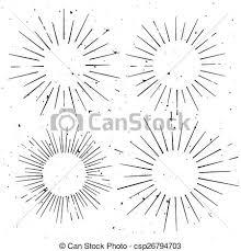 Starburst Design Clip Art Vector Clipart Of Set Of Vintage Circle Hand Drawn Ray Frames