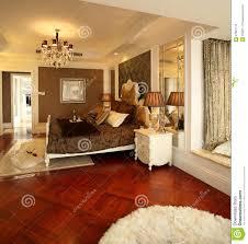 Schlafzimmerm El Eiche Moderne Innenarchitektur Schlafzimmer Lizenzfreies Stockfoto