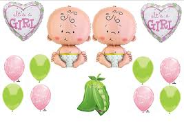 amazon com two peas in a pod twin baby girls shower balloon