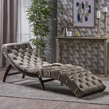 Chaise Lounge Music Amazon Com Garamond Tufted Grey Velvet Chaise Lounge Kitchen