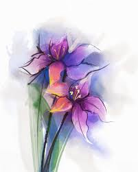 watercolor painting violet lily flowers blossom stock illustration
