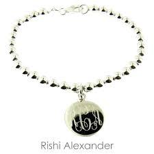 silver monogram bracelet 925 steling silver and freshwater bead monogram bracelet by