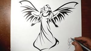 tattoo angel simple how to draw a beautiful angel tribal tattoo design style youtube