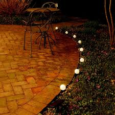 lumabase solar powered white globe string and pathway lights