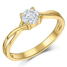 gold engagement rings uk 9ct yellow gold half carat diamond solitaire twist engagement ring