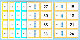 3 and 4 times table array multiplication cards 3 4 and 7 times tables array