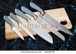 modern kitchen knives set five modern kitchen knives on stock photo royalty free