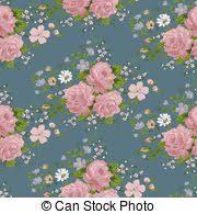 wallpaper vintage rose pattern on navy background eps vectors