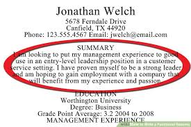 Resume Summary Paragraph Examples by How To Write A Functional Resume With Sample Resumes Wikihow