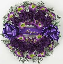 Purple Carnations Mom Flower Wreath With Artificial Purple Carnations 18 Inch
