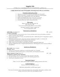Actuary Resume Example by Resume Format For Professional Photographer Photographer Resume