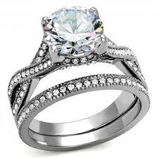 womens wedding ring sets stainless steel cubic zirconia cut stunning women s wedding