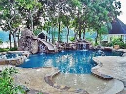 Backyard Pool With Lazy River Pool With Cave And Water Slide Pools Lazy River Pinterest