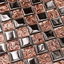 Metallic Backsplash Tiles  Stainless Steel Sheet Metal And Crystal - Stainless tile backsplash