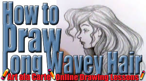 how to draw long wavy hair youtube