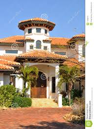 vertical view of spanish style home stock photography image