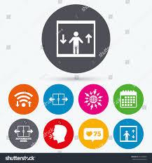 Elevator Symbol Floor Plan Wifi Like Counter Calendar Icons Automatic Stock Vector 417468262