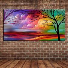 popular tree mural painting buy cheap tree mural painting lots modern abstract art trees oil painting on canvas hand painted cloud wall mural picture decoration for