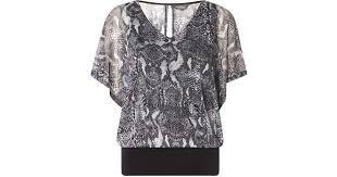 snake print blouse lyst dorothy perkins billie blossom grey snake print blouse in
