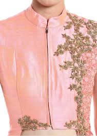 baby pink raw silk and net lehenga blouse crafted with zari