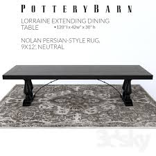 Dining Tables Pottery Barn Style 3d Models Table Pottery Barn Lorraine Dining Table Nolan