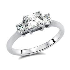 three stone engagement rings double accent sterling silver rhodium plated wedding ring
