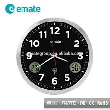 cool metal feeling analog wall clock with digital display of