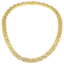 cartier diamond necklace images Cartier panther 18k yellow gold diamond necklace zadok jpg