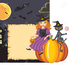 congratulation on halloween with a witch and a cat sitting on