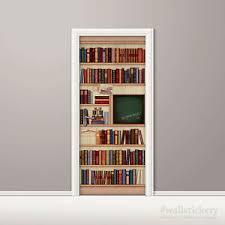 wallpaper that looks like bookshelves bookshelf wallpaper door mural art chalkboard poster wall sticker