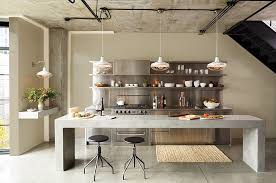 kitchen black kitchen with unique concrete kitchen island and