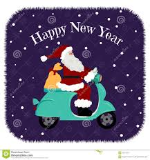 lovely christmas card santa driving motorcycle delivery the