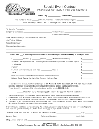 event planner contract example form template word