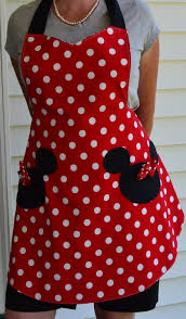 minnie mouse womens apron that is reversible vintage christmas