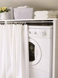 Room Curtain Hinged Top On Washer Dryer For Easy Access To Top Loading
