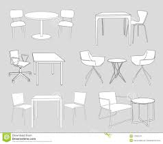 set of furniture tables and chairs sketch vector royalty free