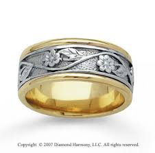 carved wedding band two tone gold stylish floral carved wedding band