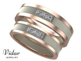 two tone wedding rings two tone princess cut diamond unique matching wedding bands