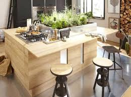 ilot central cuisine bois ilot central cuisine avec table alot central en bois et plantes en