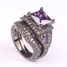 engagement jewelry sets 2016 black ring sets hot black gun color zircon pink purple
