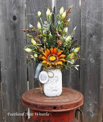 jar arrangements jar arrangement sunflower arrangement chalk painted