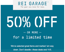 the rei garage 50 or more sale is on flying high on points