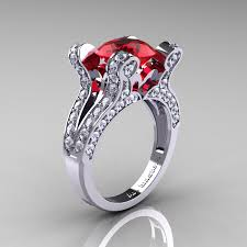 ruby wedding rings vintage 14k white gold 3 0 ct ruby pisces wedding