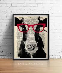 Cow Home Decor Cow Wearing Red Glasses Art Print Poster Farm Animal Vegan