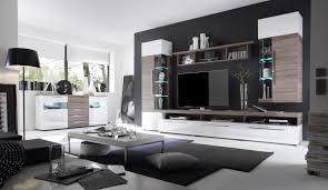 Design Wohnzimmer Moebel Wohnwand Mit Sideboard Weiss Hochglanz Sonoma Eiche Trüffel