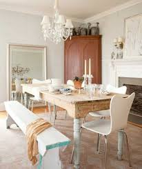 soothing shabby chic dining room with white walls and small