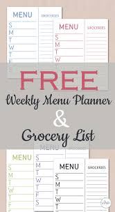Menu Planner With Grocery List Template Free Printables Archives Food Life Design